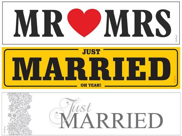 Bilskilt til bryllup