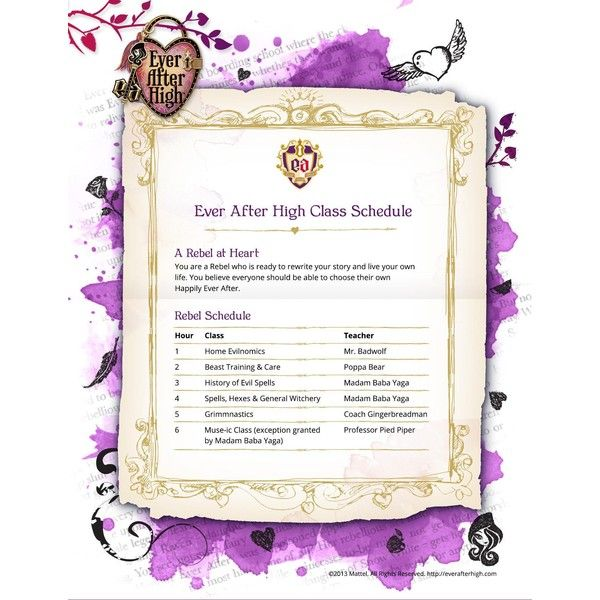 Rebel Schedule Ever After High ❤ liked on Polyvore featuring ever after high