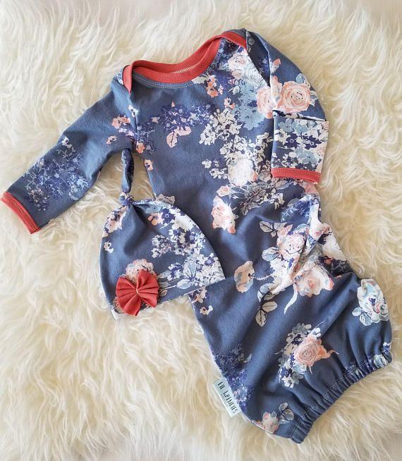 Baby girl gown  Newborn coming home set  New baby sleep sack
