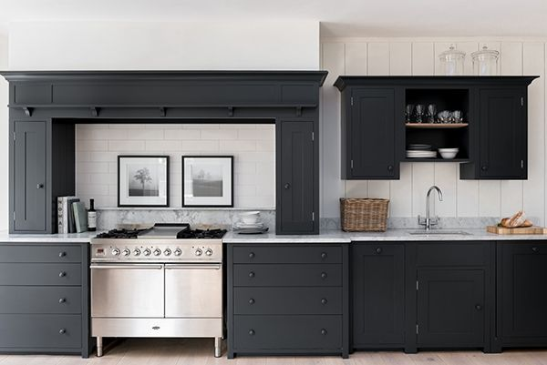 Suffolk kitchen painted in charcoal hamptons x cottage for Charcoal painted kitchen cabinets