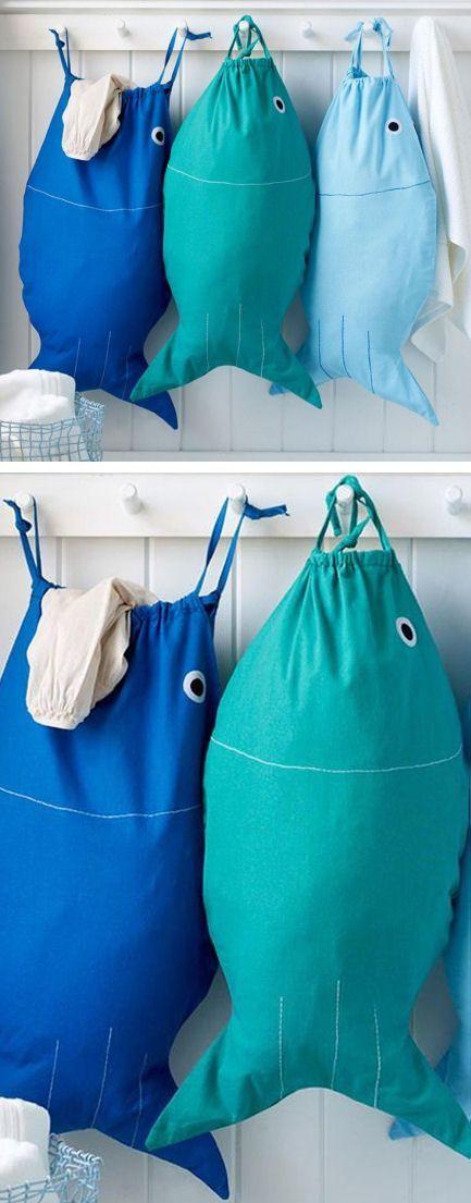 Sacs de rangement forme poisson, camaïeu bleus
