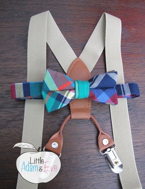 Baby Bow tie, Bow Tie forBaby, Baby Bow Tie  Ordering Options: (1). Just the Bow Tie (2). Bow Tie with Khaki Suspenders   Thanks for shopping, $12.50