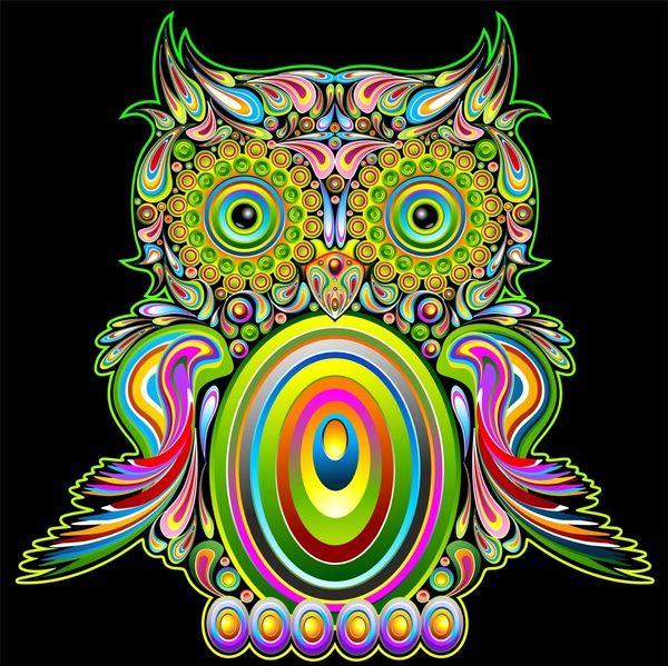 Psychedelic Art   Owl Psychedelic Art Design Art Print by Bluedarkat Lem   Society6