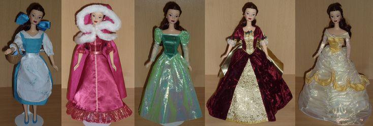 Belle in each dress from the movie : blue village dress, pink winter dress, green library dress, gold & burgundy enchanted Chrstmas dress, yellow Ball dress.