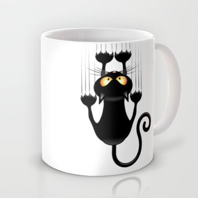 Black Cat Cartoon Scratching Wall Mug