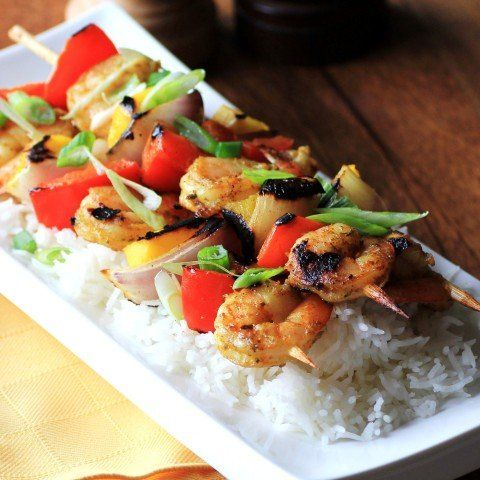 Fancy - Curry Shrimp, Mango, Red Pepper and Onion Kabobs | Noshing ...