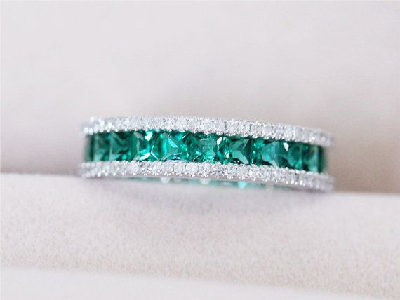 Hey, I found this really awesome Etsy listing at https://www.etsy.com/listing/208928437/vs-princess-cut-emerald-ring-585mm