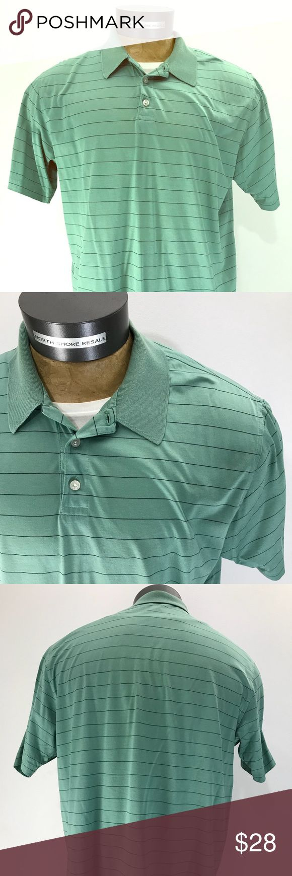 346 Brooks Brothers Mercerized Cotton Polo Shirt 346 Brooks Brothers Mercerized Cotton Polo Shirt Green Navy Pinstripes Brooks Brothers Shirts Polos