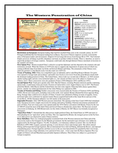 "Western Penetration of China: Reading & Questions (Imperialism) Your students will be able to understand foreign influence in China during the era of Imperialism with this engaging reading and review questions worksheet. Topics include: First Opium War Treaty of Nanking, 1842 Second Opium War Treaties of Tientsin and Peking Imperialist Pressure ""Open Door Policy"" Boxer Rebellion"