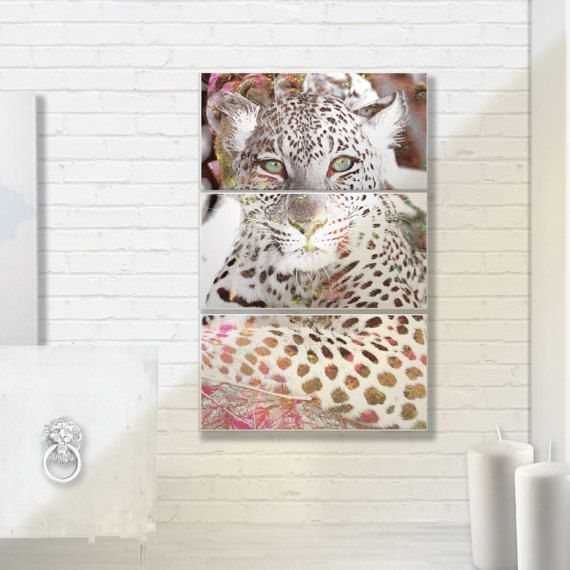 Gold and Pink Cheetah Canvas triptych ready to by MarsUniverse100