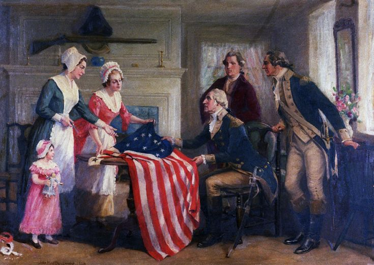 George Washington examining The Betsy Ross flag, one of the most well-known of the early American flags.