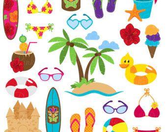 Beach Clipart Clip Art Summer Vacation Travel Vectors