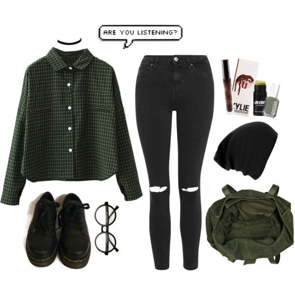 A fashion look from March 2016 by grunge4lyfe featuring WithChic, Topshop, Dr. Martens, River Island, Ladyboy, Essie, StreetStyle, GREEN, ootd, grunge and 90s
