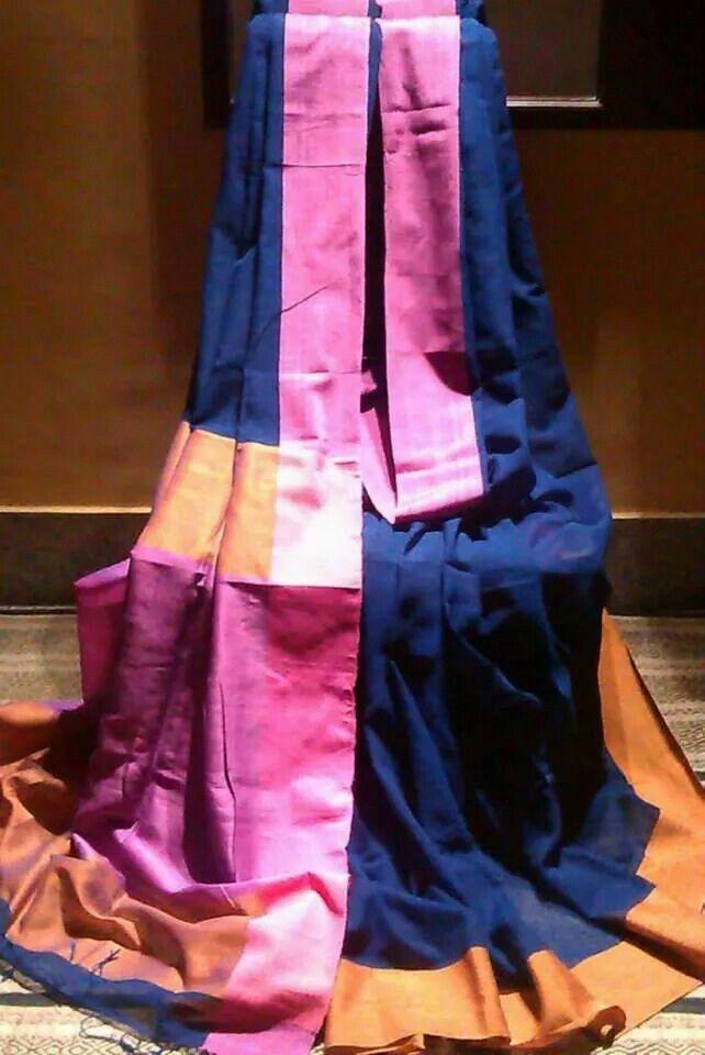 Pure linen, malmal handloom saree