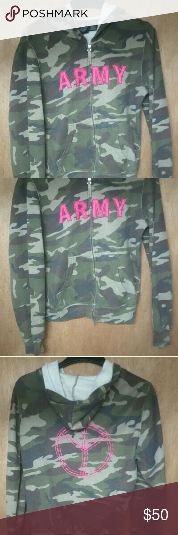 Army camo peace full zip hoodie L vintage army camo peace full zip hoodie L Nice shape for its age. Worn very few times. Bright fuscia pink embroidered onto camo.  Price firm Tops Sweatshirts & Hoodies