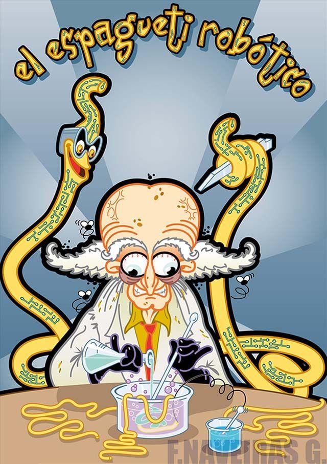 Ilustración, de portada, para el cuento El espagueti robótico, escrito en 2009 por José Naveiras Gutierrez.