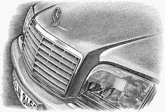 Mercedes S series stipple illustration created for a national advertising campaign which appeared in the Wall Street Journal and The New York Times