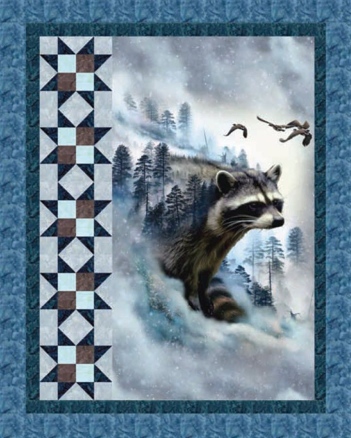 Use this pattern with baby panels! -   -   Call Of The Wild - Raccoon Ravine Free Quilt Pattern
