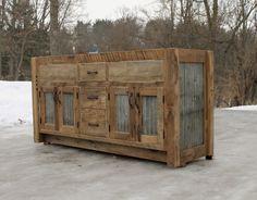 "Rustic Vanity (64"") - Dual Sink - Reclaimed Barn Wood w/Barn Tin   #9324"