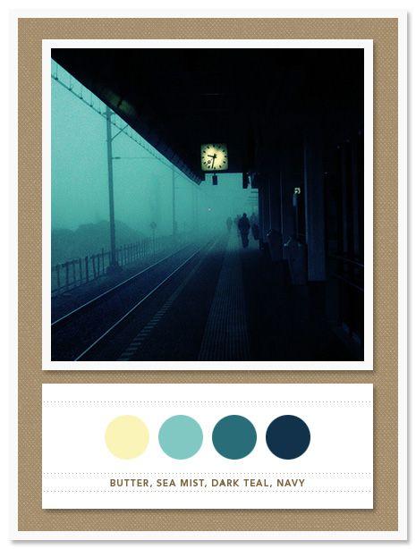 Colour Palette: butter, sea mist, dark teal, navy