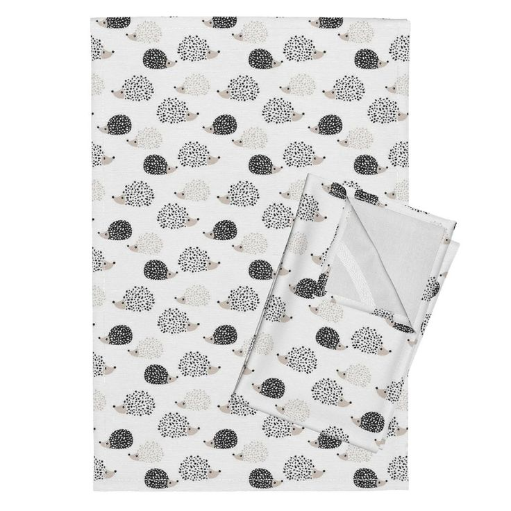 Orpington Tea Towels featuring Scandinavian sweet hedgehog illustration for kids gender neutral black and white by littlesmilemakers | Roostery Home Decor