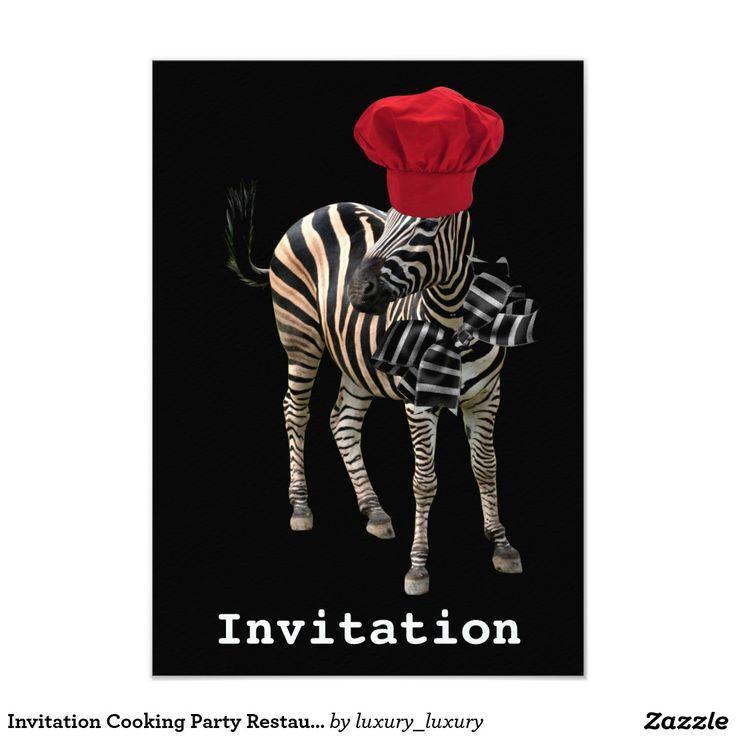 Invitation Cooking Party Restaurant Zebra Black