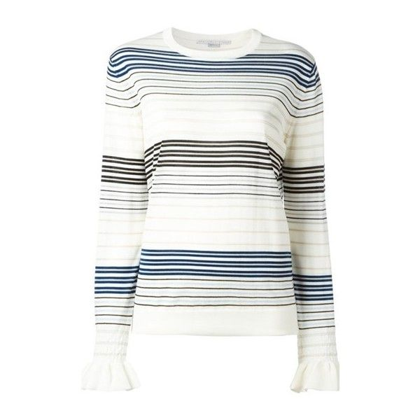 STELLA MC CARTNEY Ruffled Cuffs Sweater ($714) ❤ liked on Polyvore featuring tops, sweaters, multi, colorful tops, white sweater, multicolor striped sweater, round neck sweater and multicolor sweater