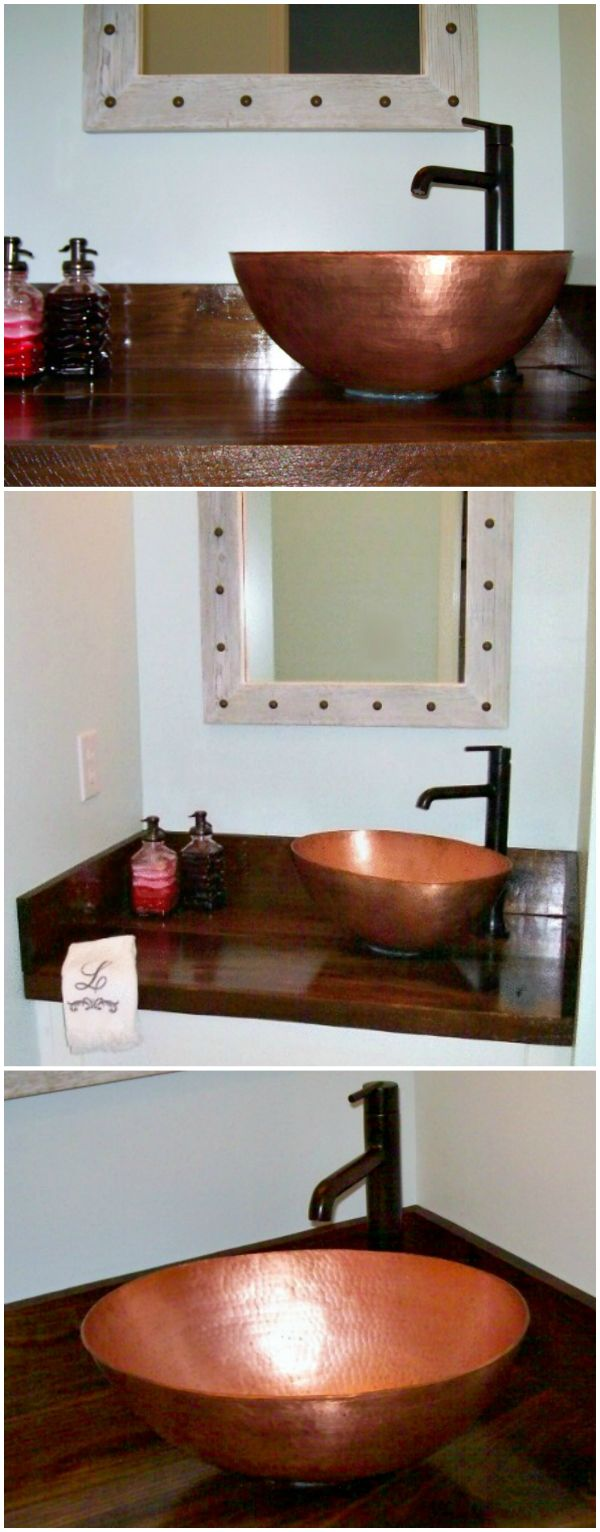 For bathroom decoration with copper bathroom sinks copper bathroom - A Round Copper Vessel Bathroom Sink With Thick Walls Installed On Top Of The Counter