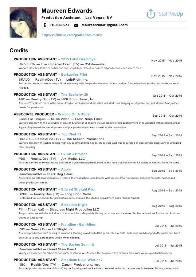 Top 20 Production Assistant Resume Job Resume Samples Sample Resume Resume