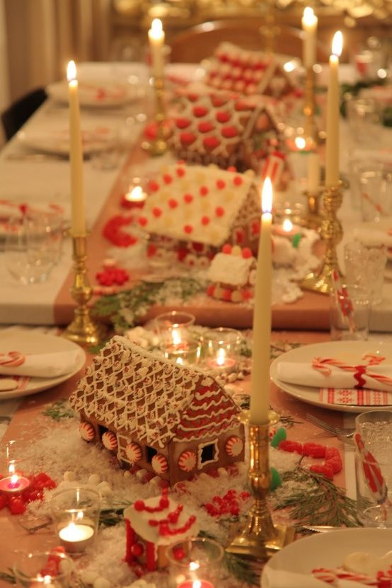 "ًWonderful Table... ""But what I LOVE. Are the gingerbread houses.. Such a great idea.. For family get together's.. Have the kids decorate the houses!!"""