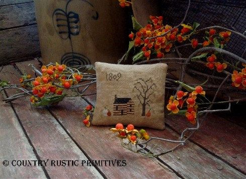 Primitive Autumn Cabin 1809 Pillow Tuck Cross by countryrustic, $7.00