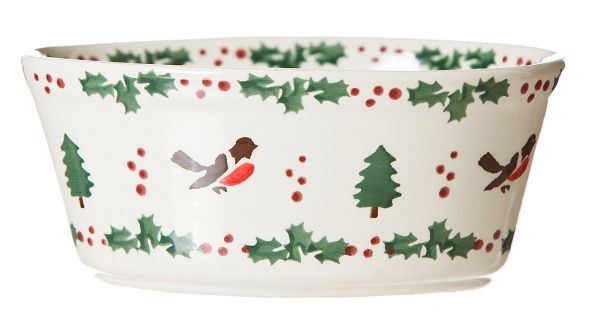 "Winter Robin Sm Oval Pie Dish. Measurements:  7cm h x 17cm l x 11cm w ( 2.7"" h x 6.7"" l x 4.3"" w )"