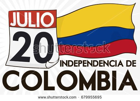 Banner with loose-leaf calendar with reminder date and tricolor flag to commemorate Colombia Independence Day (written in Spanish) in July 20.