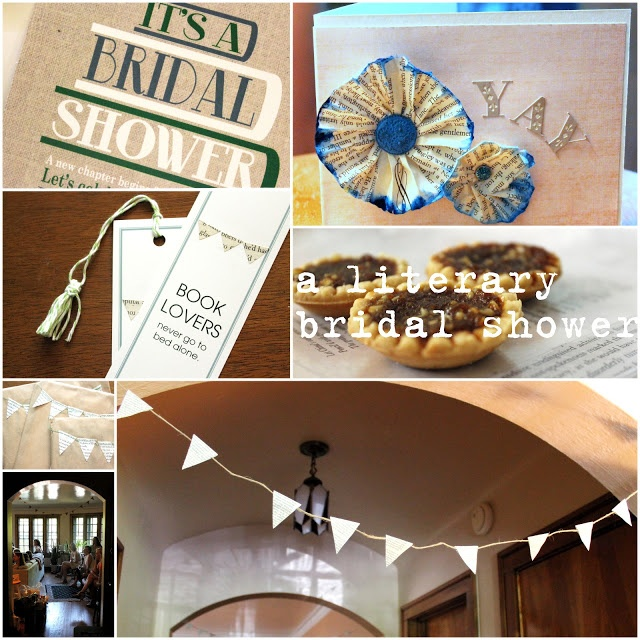 decor and food for a literary wedding shower