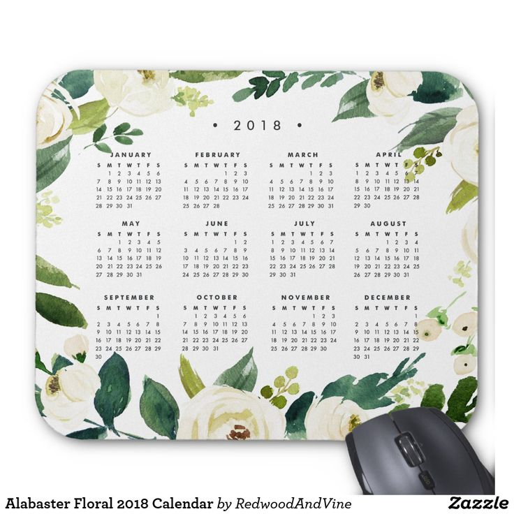Alabaster Floral 2018 Calendar Mouse Pad Chic 2018 calendar mousepad keeps dates handy, with a lush botanical border of white watercolor flowers and green foliage. Designed to match out Alabaster floral stationery and office collection.