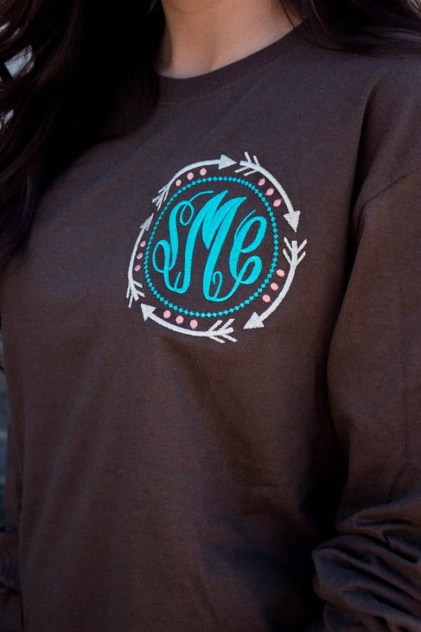 Arrow Long Sleeve Monogrammed Tee $25