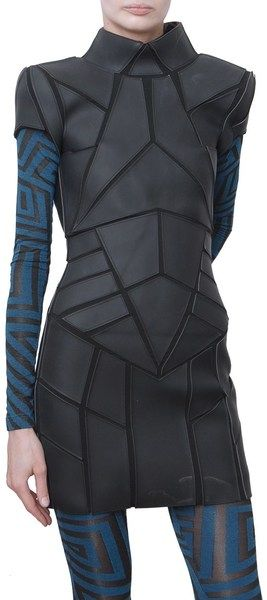 Gareth Pugh Black Neoprene and Jersey Short Sleeved Dress
