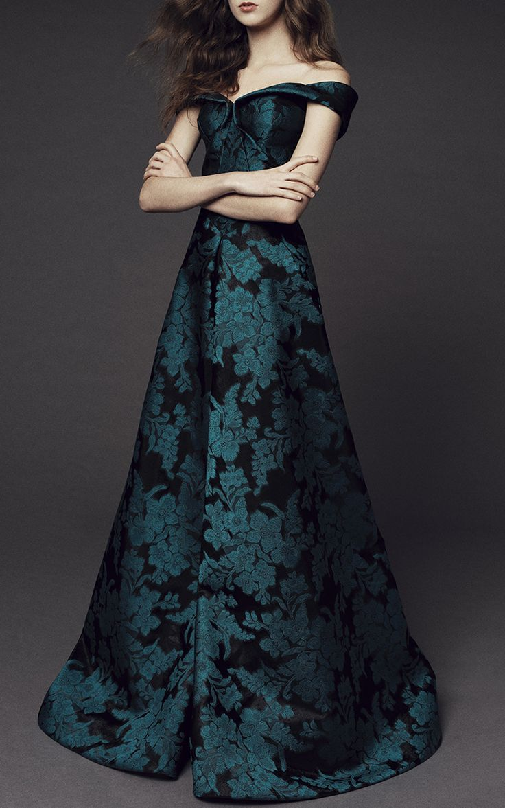 Floral Jacquard Off the Shoulder Gown by Zac Posen | Moda Operandi