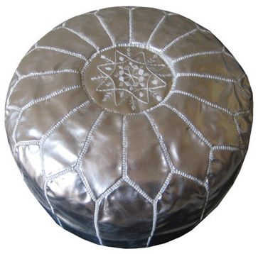 Moroccan Leather Pouf, Silver by Casami mediterranean ottomans and cubes