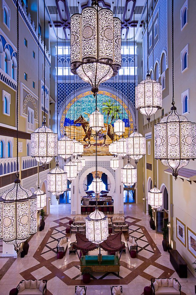 If you want an enchanted Arabian Nights theme, you  have to visit the Movenpick Ibn Battuta Hotel in Dubai to see their 88 handcrafted lanterns hanging from 10 stories high.