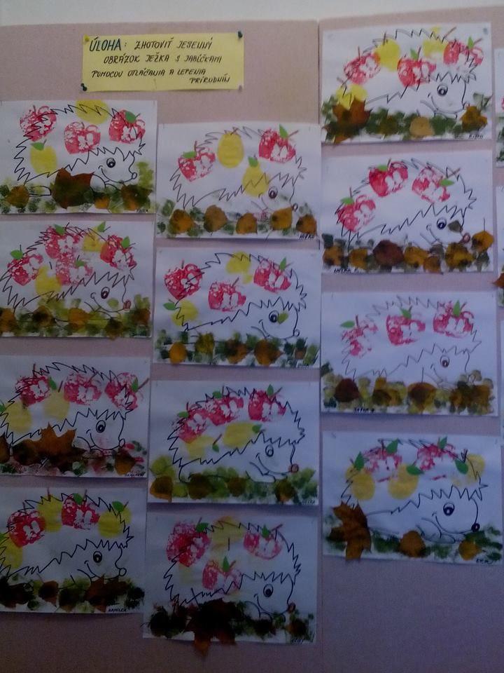šablona ježka - dotvořit otiskováním rozpůleného jablíčka, nalepením listí