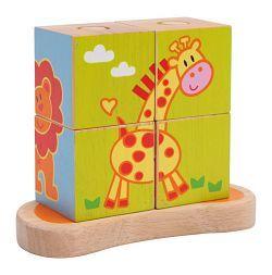 Dřevěná motorická hra - Obrázkové kostky na tyči Podrobné informace LE3362