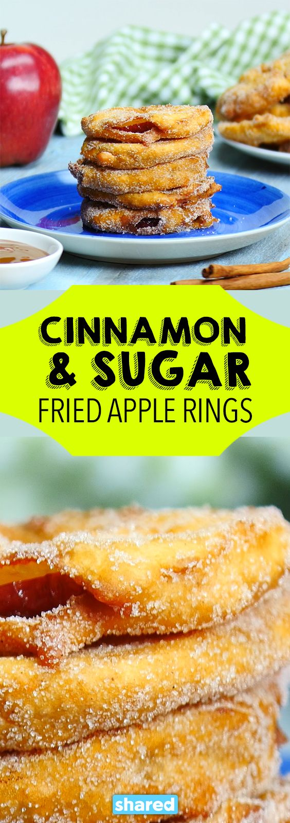 Cinnamon & Sugar Fried Apple Rings - These Cinnamon & Sugar Fried Apple Rings are better than any dessert you've tried in the last little while - guaranteed! Seriously, when you batter up some slices of fresh apple, you might not expect much, but the second these delicious fried apple rings hit your taste buds, you'll be in heaven! You might want to double up on this scrumptious recipe - these will go fast!