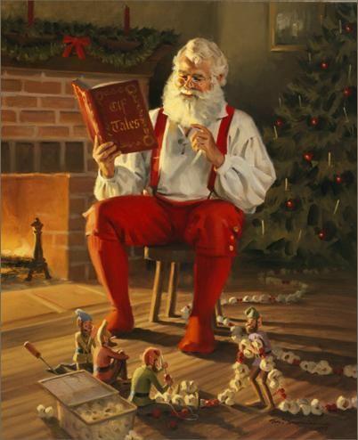 Love the elves making popcorn garland.
