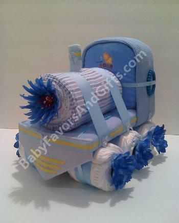 Choo Choo Train diaper cake baby shower centerpiece from Baby Favors And