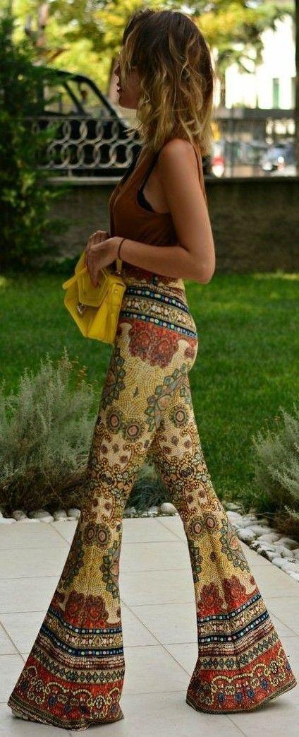 Camel Tank, Yellow Bag, Bell Bottom Printed Pants | 70's Boho | J'adore Fashion