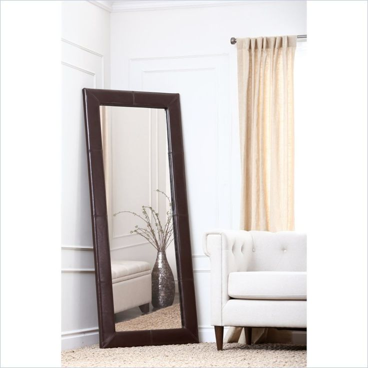 Abbyson Alexandria Leather Large Floor Mirror - Brown $303.00
