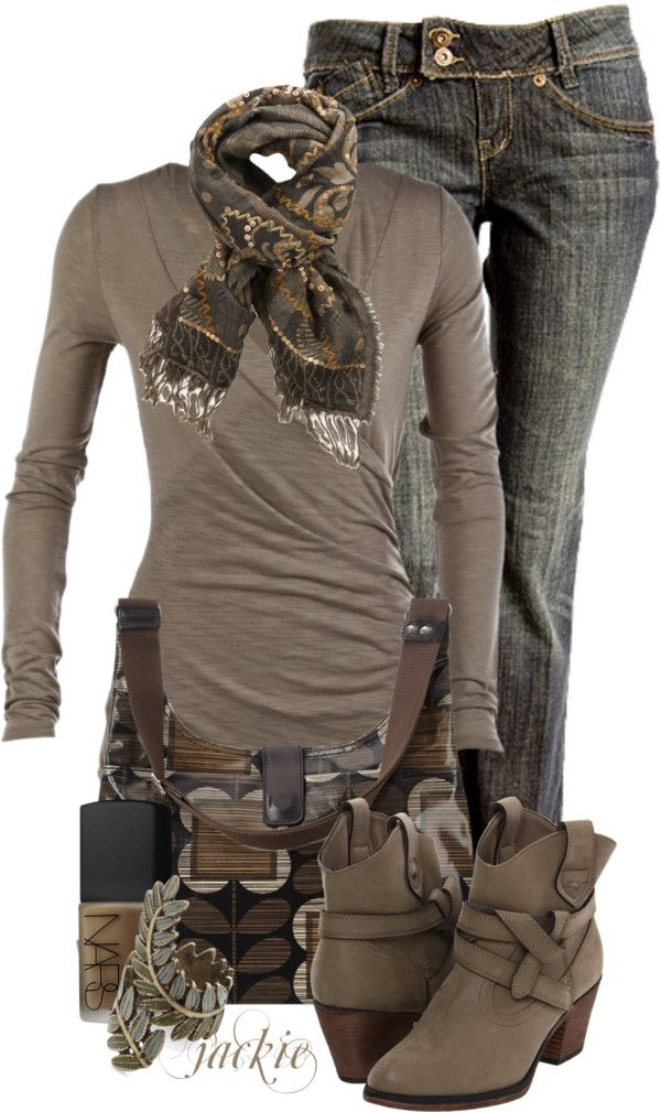 dark denim, taupe long sleeved tee, brown booties and bag, green liberty scarf and add a brown leather jacket