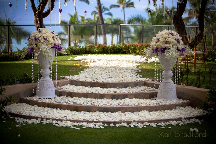 Plumeria Point Carpeted With Rose Petals Four Seasons Bridal Maui Weddings Karl Bradford Photography
