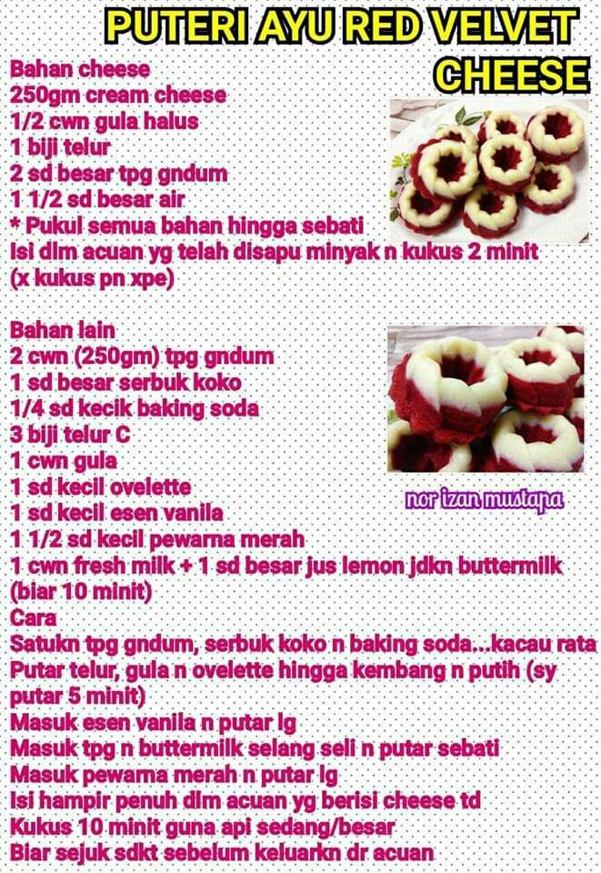 Puteri Ayu Red Velvet Cheese In 2020 Food Recipes Red